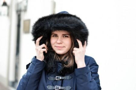 Zara Mantel Blau Fellkragen