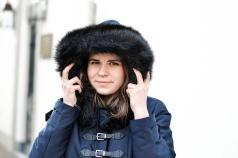 Zara Mantel Coated Blau Fellkragen