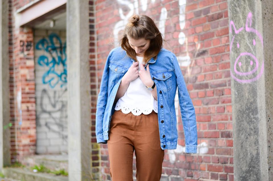 Oversized Jeansjacke mit Stifthose