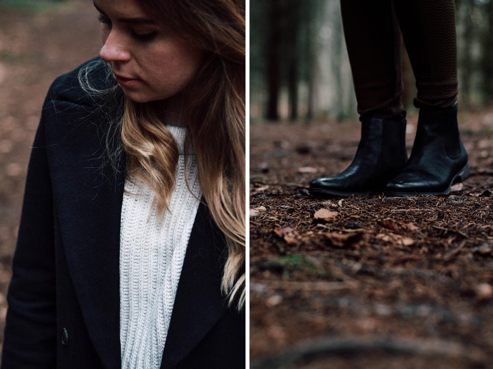 Pullover aus Strick Wald Mantel Zara Outdoor Wollmantel H&M Chelseaboots