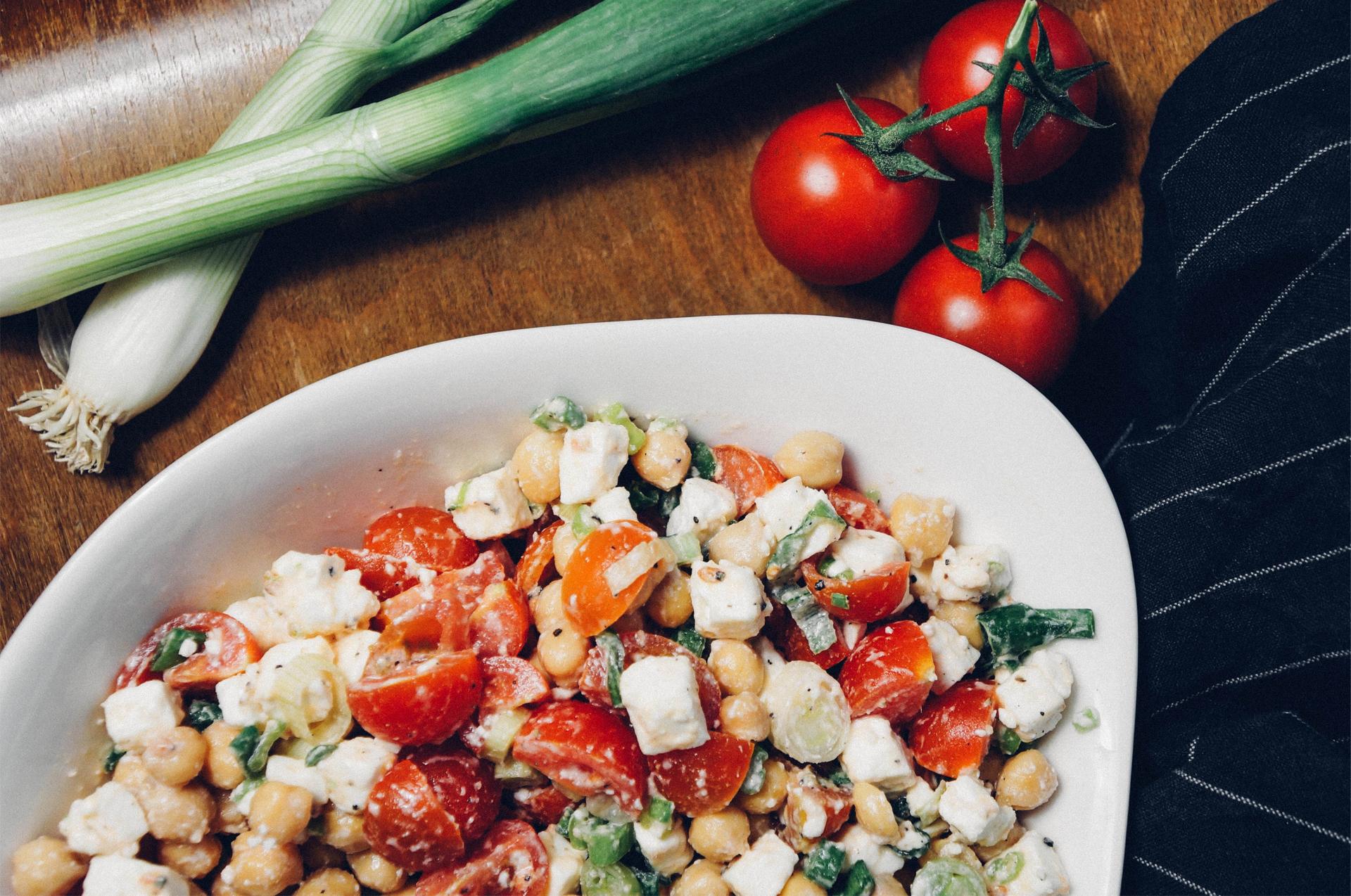 Kichererbsensalat Kichererbsen Salat Tomate Feta