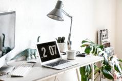 Schreibtisch Workspace DIY Tischplatte Betonplatte Betontisch