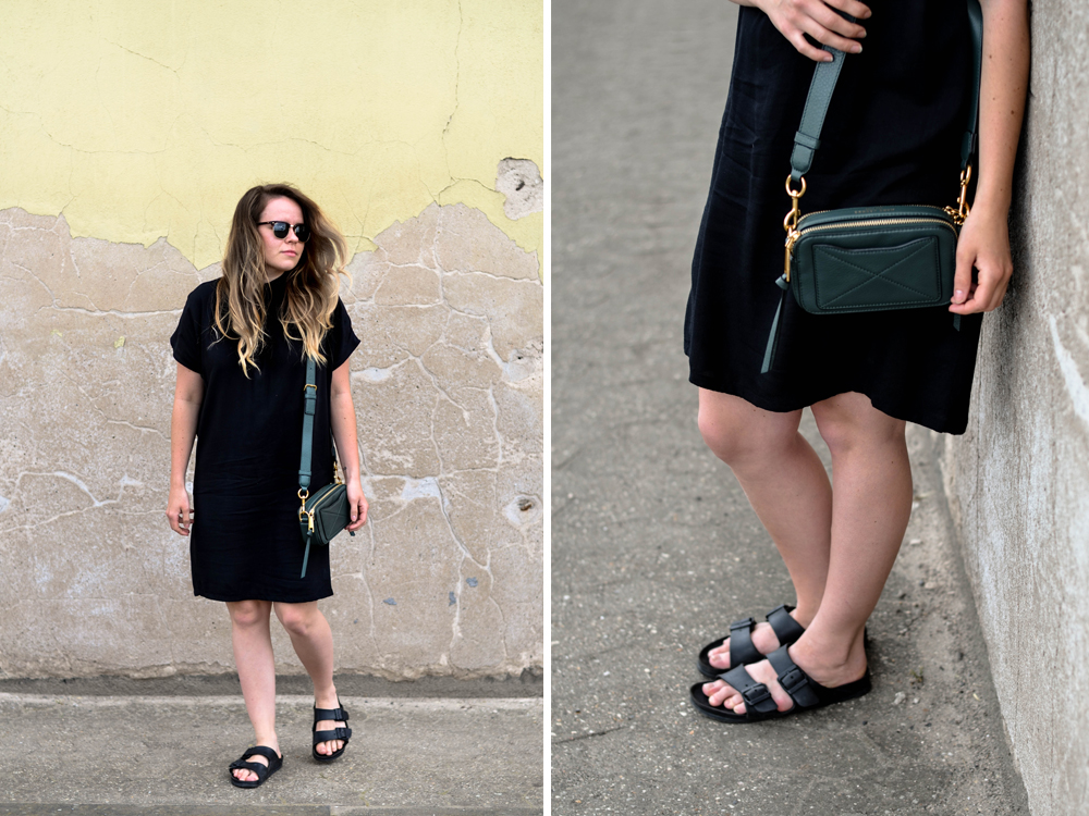 Frankreich Outfit Kleid mbym Second Hand Designer Tasche Marc Jacobs Camera Bag Kamera
